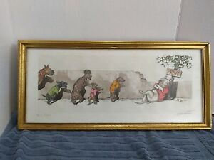 """Boris O'Klein Dirty Dogs of Paris Signed Print, """"W.C. Prive!"""" French Gallery."""