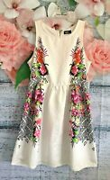 DOTTI Ivory and Floral Skater Dress Womens size 12