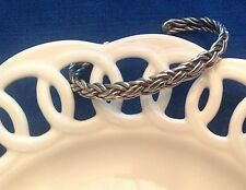 Vintage Sterling Silver Braided Bracelet-Signed Cll-Mexico 19.4Grams