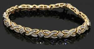 Heavy 14K yellow gold 5.28CT diamond cluster fancy link bracelet