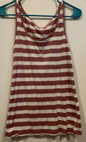 Ann Taylor Loft Women's Mauve White Striped Sleeveless Tank Top Camisole Large