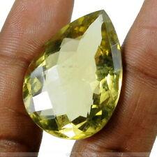 49+Ct Natural Sparkling Green Yellow Citrine Brilliant Pear Checker Cut Gemstone