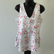 'SPORTS' BNWT SIZE '16' WHITE AND ORANGE FLORAL ACTIVE GYM EXERCISE TOP