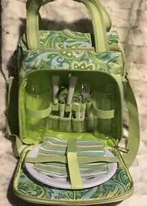 2 Person Picnic Bag Green And Blue Paisley With Shoulder Strap By Picnic Plus