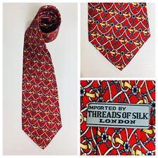 Threads of Silk Equestrian Necktie Tie Red 100% Silk  N32A