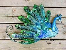 Peacock Metal Wall Plaque Sign Home Decor Peacocks Colorful Home Garden Decor