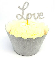 12 Silver Glitter LOVE Cupcake Toppers/Picks | Engagement Party Decorations