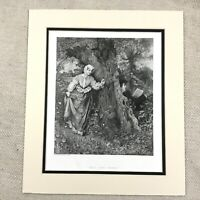 1878 Print Woodland Pastoral Scene Victorian Girl Painting Antique Engraving