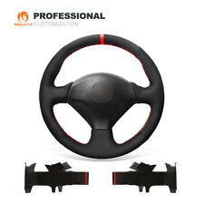Custom Black Suede Car Steering Wheel Cover for Honda S2000 Civic Si Acura RSX