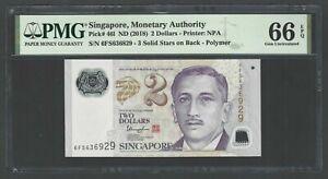 Singapore 2 Dollars ND(2018) P46I Uncirculated Grade 66