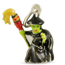 NEW 3D Sterling Silver & Enamel WITCH with Broomstick HALLOWEEN CHARM Pendant