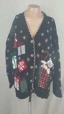 Ugly Christmas Sweater M Party Holiday Presents Candy Cane Women's