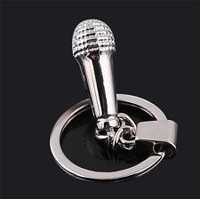 3D Silver Microphone Mic Keyring Singer Karaoke Music Steampunk Key Chain HH80