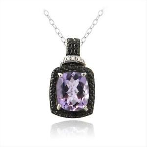 """925 Silver 3ct Amethyst & Black Diamond Accent Rectangle Necklace, 18"""""""