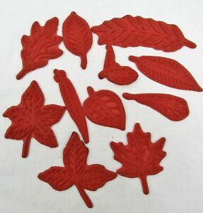 "Leaf Rubber Stamps lot of 11 unmounted large leaves up to 5 1/2"" life size"