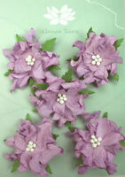 GARDENIA Flowers & Leaves LAVENDER Mulberry Paper 5Pk 50-55mm across Green TaraA