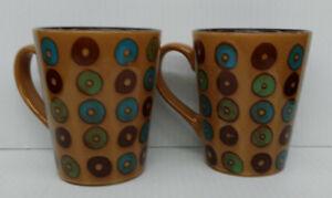 Gibson - Donut Coffee Mug - Brown -  Set of 2 - 13 oz. each