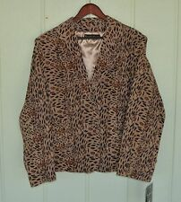 NWT 3X PAMELA MCCOY Animal Printed Suede Leather 2 Knot Button Jacket  Lined