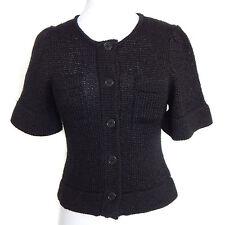 LUTZ & PATMOS Black Knit Short Sleeve Cardigan Sweater Sz XS