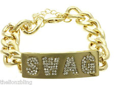 Hip Hop & Club Fashion Gold Chain Bracelet with SWAG Pendant in Crystal Bling