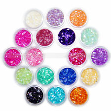 18 Colors Glitter Crushed Shell Chips Powder Tips Nail Art Acrylic 3D Decor Set