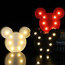 Bedroom Decor Led Mickey Mouse Head Night Lights Nursery Light Up Wall Lamp!