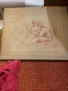 MYSTERIOUS FRENCH OR ENGLISH CHALK CRAYON DRAWING