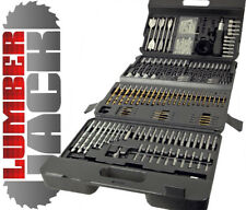 205 Piece Drill Bit Set HSS Masonry Metal Wood Flat Pozi Bits Hole Cutter & Case