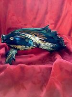 """FLAWLESS Exquisite ART GLASS STUDIO 16"""" Hand Blown FISH SCULPTURE Signed LOWERY"""