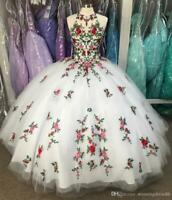 Fabulous White 3D Flowers Ball Gown Quinceanera Prom Dresses Sweet 16 Dress