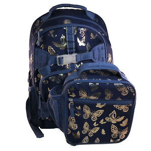 Pottery Barn Backpack Foil Gold and Navy Butterfly (Large) And Classic Lunchbox