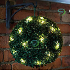 2x Topiary BALL Garden Lights Rose Boxwood Hanging Ornament 20 LED Solar Powered