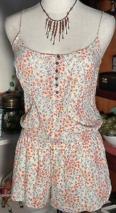 ZARA Boho Festival 100% cotton Floral spaghetti Strap shortalls Jumpsuit M