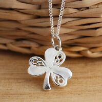 Solid 925 Sterling Silver Irish Shamrock 3Leaf Clover Celtic Charm Lucky Pendant