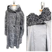 Vintage VTG 1980s 80s Leopard Gray Black Flocked Pleated Hooded Reversible Coat