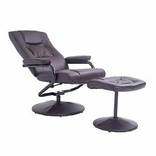 Leather Recliner and Ottoman Set Black Contemporary Comfortable Stressless Chair