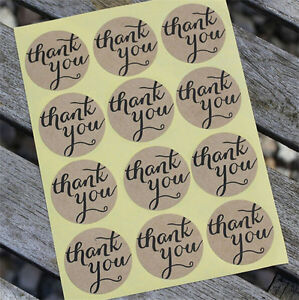 """12Pc Round """"Thank You"""" Cute Seals Kraft Labels  DIY Craft Paper Stickers-5 Sheet"""
