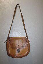 VINTAGE Handmade Painted Floral Tooled Leather Hippie Bag Boho Flap Saddle Purse
