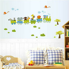 Animal Trains Wall Stickers Nursery Boy kids baby Room Vinyl Art Decal Removable