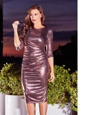 Jessica Wright Limited Edition Paulie Rose Gold Metallic Midi Bodycon Dress 14