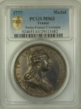 1777 France Swiss-France Covenant Silver Medal PCGS MS-63 *EXTREMELY RARE*