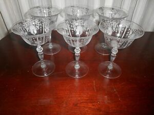 6 Candlelight Etched 6 oz. Champagne / Tall Sherbet Stems by Cambridge Glass