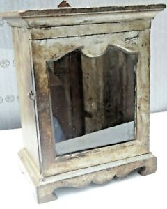 Antique Wood distressed Cabinet Decor Display showcase table mount white color