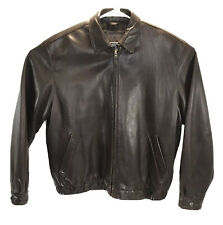 ROUNDTREE & YORKE Men's  soft Lambskin Leather Bomber Jacket Brown Size XL
