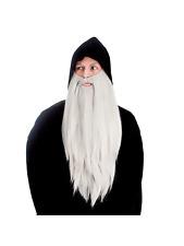 Grey Deluxe Long Beard Mens Fancy Dress Wizard Gnome Fairytale Accessory New