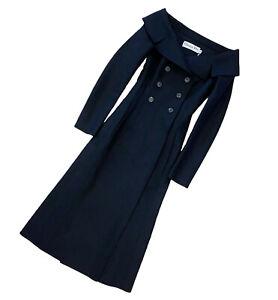 Christian Dior Women Off Shoulder Black Cashmere Wool Bar Long Dress Coat XS 34