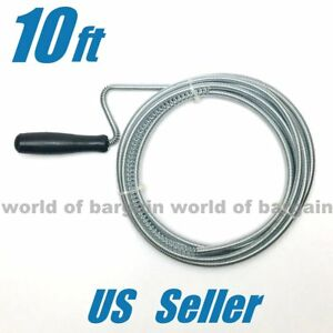 DRAIN OPENER Spring Wire Rod Auger Snake Pipe Unclog Sink Toilet Tub Cleaner T58
