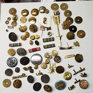 Vintage Military Collar Disk Buttons Pins Parts Lot