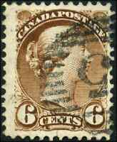 Canada #39b used F 1872 Queen Victoria 6c yellow brown Small Queen CV$25.00