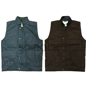 Mens Wax Gilet Bodywarmer British Country Hunting Wear Vest Padded Jacket Coat